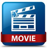 Movie (cinema clip icon) blue square button red ribbon in middle. Movie (cinema clip icon) isolated on blue square button with red ribbon in middle abstract Royalty Free Stock Images