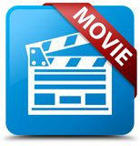 Movie (cinema clip icon) cyan blue square button red ribbon in c. Movie (cinema clip icon) isolated on cyan blue square button with red ribbon in corner abstract Stock Photos