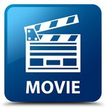 Movie (cinema clip icon) blue square button. Movie (cinema clip icon) isolated on blue square button abstract illustration Royalty Free Stock Images