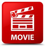 Movie (cinema clip icon) red square button. Movie (cinema clip icon) isolated on red square button abstract illustration Royalty Free Stock Photography
