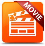 Movie (cinema clip icon) orange square button red ribbon in corn. Movie (cinema clip icon) isolated on orange square button with red ribbon in corner abstract Royalty Free Stock Photo