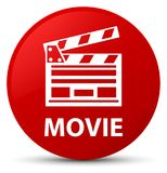 Movie (cinema clip icon) red round button. Movie (cinema clip icon) isolated on red round button abstract illustration Stock Photography