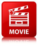 Movie (cinema clip icon) red square button. Movie (cinema clip icon) isolated on red square button reflected abstract illustration Royalty Free Stock Photos