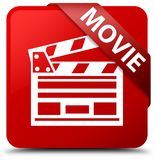 Movie (cinema clip icon) red square button red ribbon in corner. Movie (cinema clip icon) isolated on red square button with red ribbon in corner abstract Royalty Free Stock Images