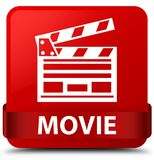 Movie (cinema clip icon) red square button red ribbon in middle. Movie (cinema clip icon) isolated on red square button with red ribbon in middle abstract Stock Photos