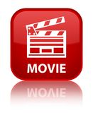Movie (cinema clip icon) special red square button. Movie (cinema clip icon) isolated on special red square button reflected abstract illustration Royalty Free Stock Images