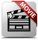 Movie (cinema clip icon) white square button red ribbon in corne. Movie (cinema clip icon) isolated on white square button with red ribbon in corner abstract Royalty Free Stock Images