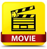 Movie (cinema clip icon) yellow square button red ribbon in midd. Movie (cinema clip icon) isolated on yellow square button with red ribbon in middle abstract Royalty Free Stock Images