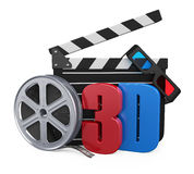 Movie Cinema Concept. Isolated on white background. 3D render Royalty Free Stock Images