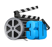 Movie Cinema Concept. Isolated on white background. 3D render Royalty Free Stock Image