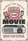 Movie cinema 3D glasses and popcorn vector illustration