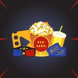 Movie cinema hall. Box with popcorn, soda water glass, 3d glasses, tickets - vector Royalty Free Stock Photo