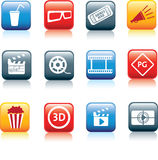 Movie and cinema icon set. Movie, film and cinema, typical square icon buttons Stock Image
