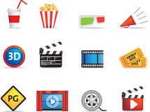 Movie and cinema icon set Royalty Free Stock Image