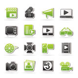 Movie and cinema icons Royalty Free Stock Photo