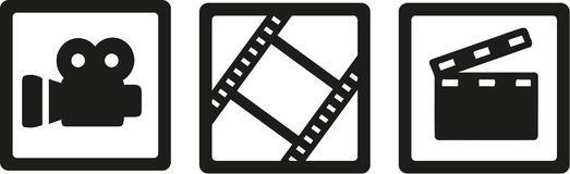 Movie cinema icons - camera, film reel and clapperboard. Vector Royalty Free Stock Photography
