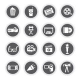 Movie, cinema icons, round buttons. Set of 16 movie, cinema icons, round buttons Royalty Free Stock Photo