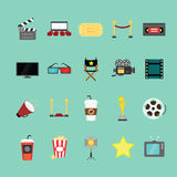 Movie and cinema icons set. Royalty Free Stock Photography