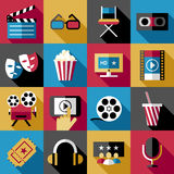 Movie, cinema icons set, vector cartoon symbols Stock Image