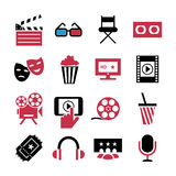 Movie, cinema icons set, vector cartoon symbols Royalty Free Stock Image