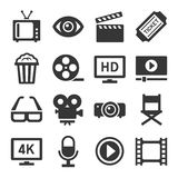Movie Cinema Icons Set. Vector. Movie Cinema Icons Set on White Background. Vector illustration Stock Images