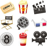 Movie cinema icons. Cinema movie theater  objects icon set illustration. With tickets popcorn director chair 3d glasses soda camera Stock Image