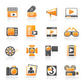 Movie and cinema icons. Vector icon set Stock Images