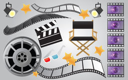 Movie or cinema items. Collection of movie and film icons and objects Royalty Free Stock Image