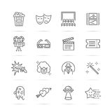 Movie and cinema  line icons. Minimal pictogram design,  stroke for any resolution, entertainment concept Stock Image