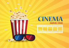Movie cinema poster design. Vector template banner for show. With popcorn Stock Photos