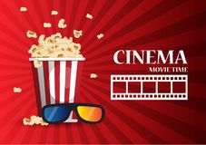 Movie cinema poster design.  template banner for show with. Movie cinema poster design. Vector template banner for show with popcorn Royalty Free Stock Images