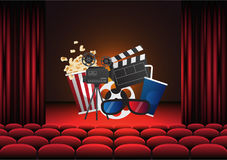 Movie cinema poster design. Vector template banner. For show with seats, popcorn, tickets Stock Images