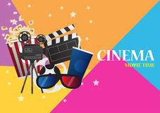 Movie cinema poster design. Vector template banner. For show with seats, popcorn, tickets Stock Photography