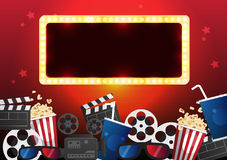 Movie cinema poster design. Vector template banner. For show with seats, popcorn, tickets Royalty Free Stock Image