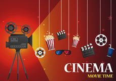 Movie cinema poster design. template banner for show with. Movie cinema poster design. Vector template banner for show with seats, popcorn, tickets Stock Photography