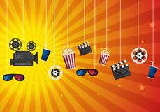 Movie cinema poster design. Vector template banner for show with. Seats, popcorn, tickets vector Royalty Free Stock Images