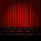 Movie cinema premiere poster design with red curtains. Vector banner. Stock Image