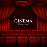 Movie cinema premiere poster design with red curtains. Vector banner. Royalty Free Stock Image
