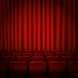 Movie cinema premiere poster design with red curtains. Vector banner. Royalty Free Stock Images