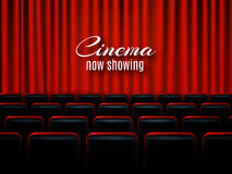 Movie cinema premiere poster design with red curtains. Vector banner. Movie cinema premiere poster design with red curtains. Vector template banner Stock Photography