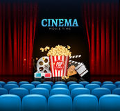 Movie cinema premiere poster design. Vector template banner for show with curtains, seats, popcorn, tickets Stock Image