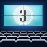 Movie cinema premiere poster design with white screen. V. Ector background Royalty Free Stock Photo