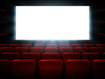 Movie cinema premiere poster design with white screen. Vector background. Royalty Free Stock Photo