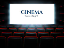 Movie cinema premiere poster design with white screen. Vector background. Royalty Free Stock Images