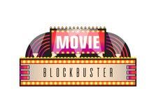 Movie and cinema retro signboard of neon light bulbs. royalty free stock photos