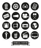 Movie and cinema round solid icons vector set. Collection of 16 cinema and movie related vector icons in circles Royalty Free Stock Photography