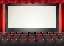 Movie cinema with seats and screen Royalty Free Stock Photography