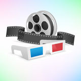 Movie cinema set. The movie cinema set. 3d glasses, clapper and film cartridge on tne colored background Royalty Free Stock Image