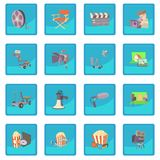 Movie cinema symbols icon blue app Stock Photos