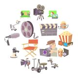 Movie cinema symbols icons set, cartoon style. Movie cinema symbols icons set. Cartoon illustration of 16 movie cinema symbols vector icons for web Royalty Free Stock Photos